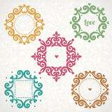 Vector vintage frames in Victorian style. Royalty Free Stock Images