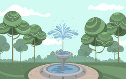 Vector vintage garden with beautiful fountain and squirting water Stock Images