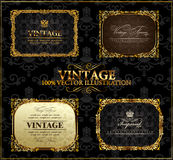 Vector vintage Gold frames decor label Stock Photography