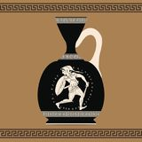 Vector Greek vase. Vector vintage Greek vase with national ornaments and with image of woman as a warrior with a sword in her hands Royalty Free Stock Image