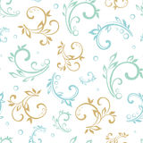 Vector Vintage Green Blue Beige Floral Swirls Royalty Free Stock Photo