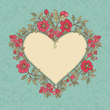 Vector vintage greeting card with a doodle red flowers bouquet and frame for text on retro dirty background Royalty Free Stock Photos
