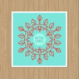 Vector vintage greeting card with outline frame Stock Image
