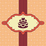 Vector vintage greeting card with wedding cake Stock Photos