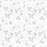 Vector vintage grey roses and leaves on white background seamless repeat pattern texture. Great for retro fabric Royalty Free Stock Photography