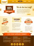 Vector vintage guarantee website template. With brown color
