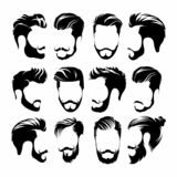 Hipster Hair, Mustaches and Beards. Hipster Style Vector Illustration. - Vector royalty free illustration