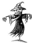 Vector vintage halloween scarecrow. Royalty Free Stock Images
