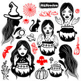 Vector vintage Halloween set of icons Stock Photography