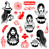 Vector vintage Halloween set of icons. For your business Stock Image