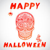 Vector vintage Halloween skull illustration Stock Photo