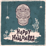Vector vintage Halloween skull illustration Royalty Free Stock Photo