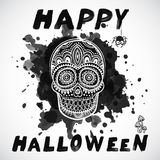Vector vintage Halloween skull illustration Stock Photography