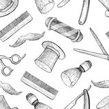 Vector vintage hand drawn Barber Shop seamless pattern. Detailed Stock Photos