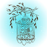 Vector vintage hand drawn cage.  sketch birdcage  Stock Images