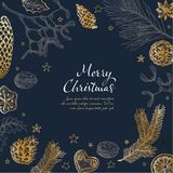 Vector vintage hand drawn Christmas card template stock images