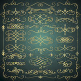 Vector Vintage Hand Drawn Golden Swirls Collection. Set of Hand Drawn Golden Luxury Royal Doodle Design Elements. Decorative Swirls, Scrolls, Text Frames Stock Image