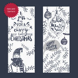 Vector vintage hand drawn set of doodle banners Royalty Free Stock Photos