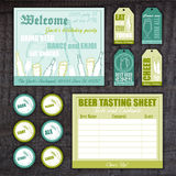 Vector vintage hand drawn set with invitation card. Tasting sheet, label and tag on wooden desk Royalty Free Stock Images