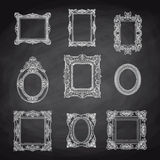 Vector vintage hand drawn set with picture frames Royalty Free Stock Images