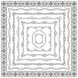 Vector Vintage Hand Drawn Square Frames Borders. Collection of Vector Outlined Hand Drawn Vintage Square Borders, Frames. Design Elements. Vector Illustration Stock Image