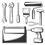Vector vintage hand tools icons set Stock Image