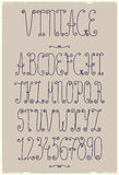 Vector vintage handwriting font Stock Photography