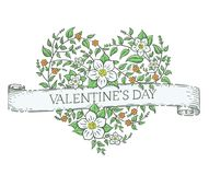 Heart made of flowers. Vector vintage heart made of hand drawn flowers isolated on white with a ribbon and valentines day greetings. Nice old style 14 February Vector Illustration