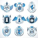 Vector vintage heraldic Coat of Arms designed in award style. Me. Dieval towers, armory, royal crowns, stars and other graphic design elements collection Stock Images