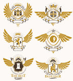 Vector vintage heraldic Coat of Arms designed in award style. Me Royalty Free Stock Images