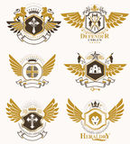 Vector vintage heraldic Coat of Arms designed in award style. Me Stock Image