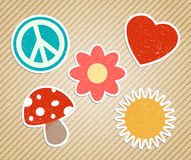 Vector vintage hippies stickers. Vector vintage cute hippies stickers Royalty Free Stock Images