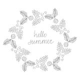 Vector Vintage Hipster Hello Summer Wreath Illustration Royalty Free Stock Photography