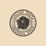 Vector vintage hipster italian food logo. Modern pasta sign or icon. Hand drawn mediterranean cuisine illustration. Stock Photos