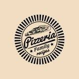 Vector vintage hipster italian food logo. Modern pizza sign. Hand drawn mediterranean cuisine illustration. Royalty Free Stock Photos