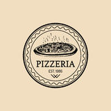 Vector vintage hipster italian food logo. Modern pizza sign. Hand drawn mediterranean cuisine illustration. Stock Photo