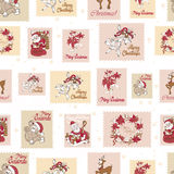 Vector Vintage Holiday Stamps Green Christmas Royalty Free Stock Photography