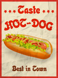 Vector Vintage Hot Dog poster concept. Royalty Free Stock Image