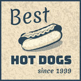 Vector vintage hot dog poster Royalty Free Stock Photo