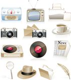 Vector Vintage Icon Set Stock Photos