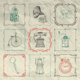 Vector Vintage Icons and Objects on Crumpled Paper Royalty Free Stock Photography
