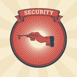 Vector vintage illustration of badge, sticker, sign with a male hand holding the key, the concept of confidentiality Royalty Free Stock Image