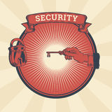 Vector vintage illustration of badge, sticker, sign with a male hand holding the key of the locked lock. The concept of confidentiality, information Royalty Free Stock Photo