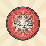 Vector vintage illustration of badge, sticker, sign for tailor s shop with a needle and coil with threads Stock Photography