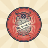 Vector vintage illustration of badge, sticker, sign for tailor s shop with a needle, pin and button Stock Photo