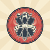 Vector vintage illustration of badge, sticker, sign for tailor s shop with a needle, pin and safety pin Stock Image