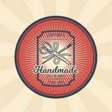 Vector vintage illustration of badge, sticker, sign for tailor s shop with a needle, scissors and thread Royalty Free Stock Photos