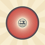 Vector vintage illustration of badge, sticker, sign for tailor s shop with a sewing machine Royalty Free Stock Photography