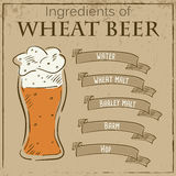 Vector vintage illustration of card with recipe of wheat beer. Ingredients are written on ribbons Royalty Free Stock Photos