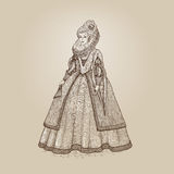 Vector vintage illustration. Gentlewoman Elizabethan epoch 16th century. Medieval lady in a rich dress with large collar.  Royalty Free Stock Photography